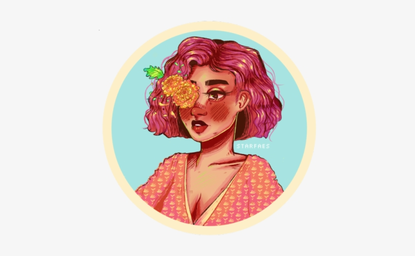 I Really Like Flowers - Girl With Flowers Drawing, transparent png #2198974