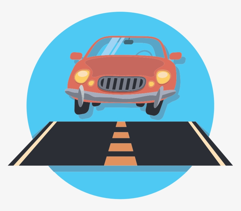 Car And Road Icon Graphic Free Download - Car On Road Clip Art, transparent png #220979