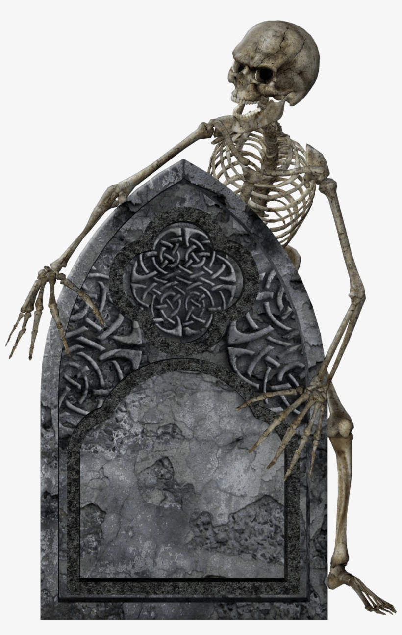 Jpg Library Library Headstone And Skeleton Png Stickpng - Halloween Card With Witch And Skeleton Card, transparent png #221342