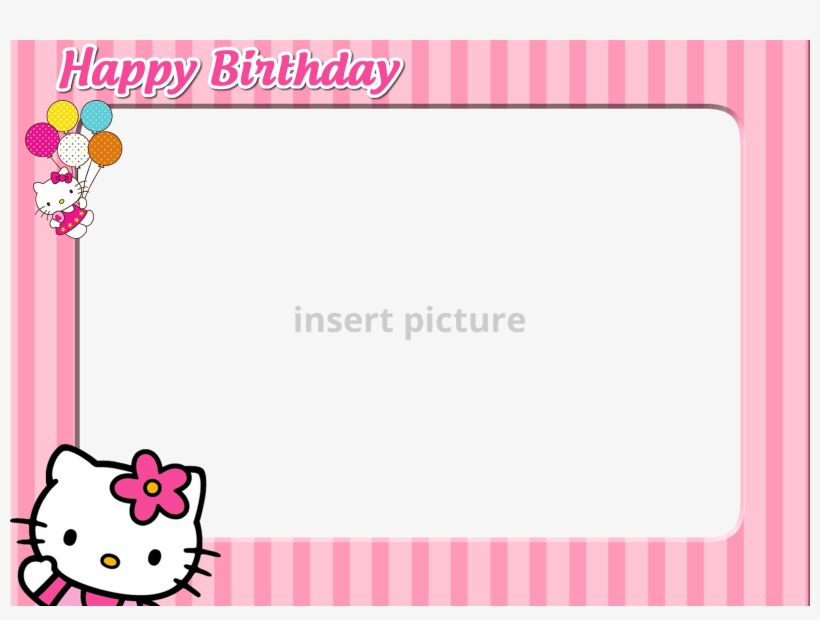 Download Free Printable Hello Kitty Png Frame - Hello Kitty Birthday Photo Frame, transparent png #224159