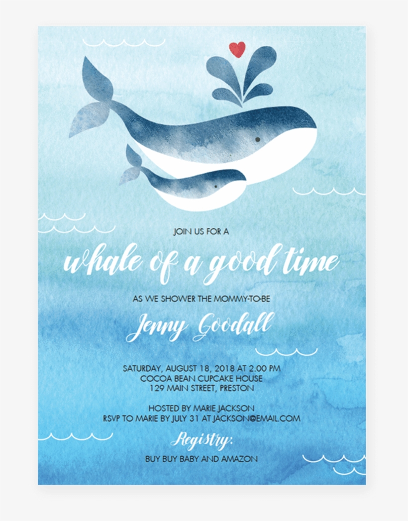 Whale Baby Shower Invitation Template By Littlesizzle - Gender Neutral Whale Baby Shower Invites, transparent png #225390