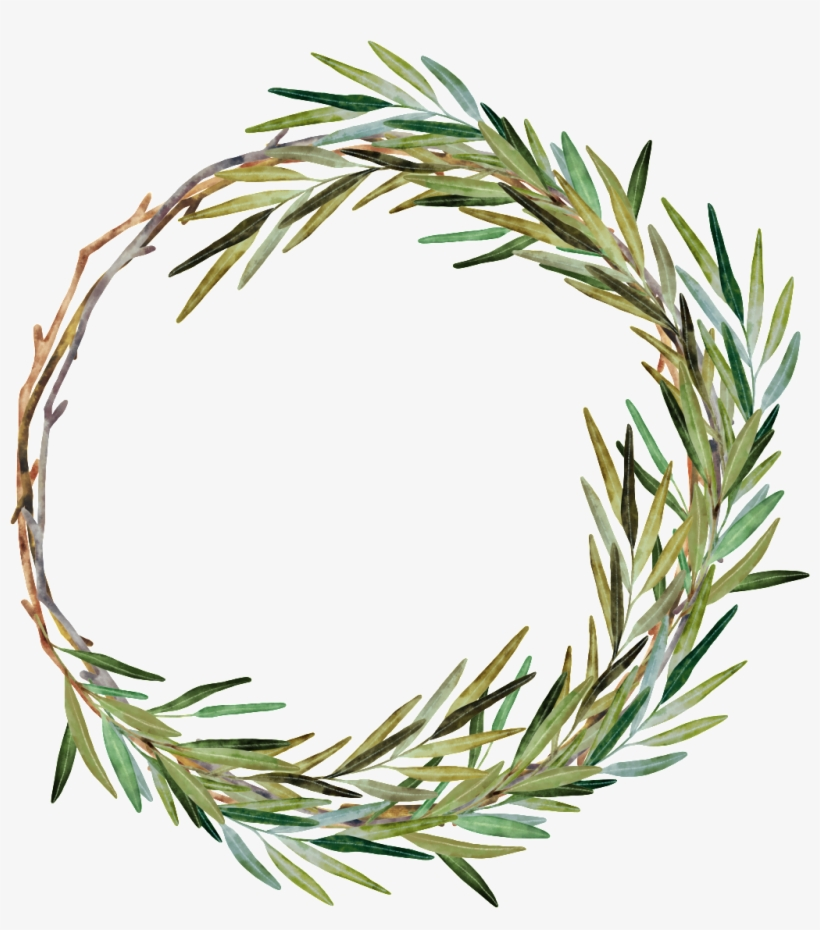 Hand Painted Weed Grass Ring Png Transparent - Watercolor Rosemary Wreath, transparent png #225697