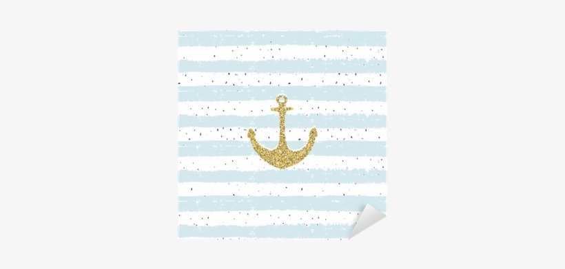Gold Glitter Anchor On Striped Repeat B Scribble Background - Drawing, transparent png #226150