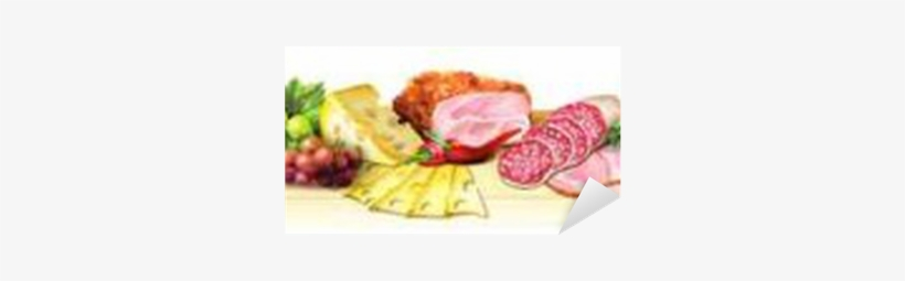 Panoramic Image Of Smoked Meat, Sausages And Cheese - Sausage, transparent png #228466