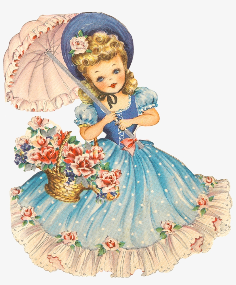 Clipart Vintage Girl Png - Happy Birthday Classic Cards, transparent png #228720