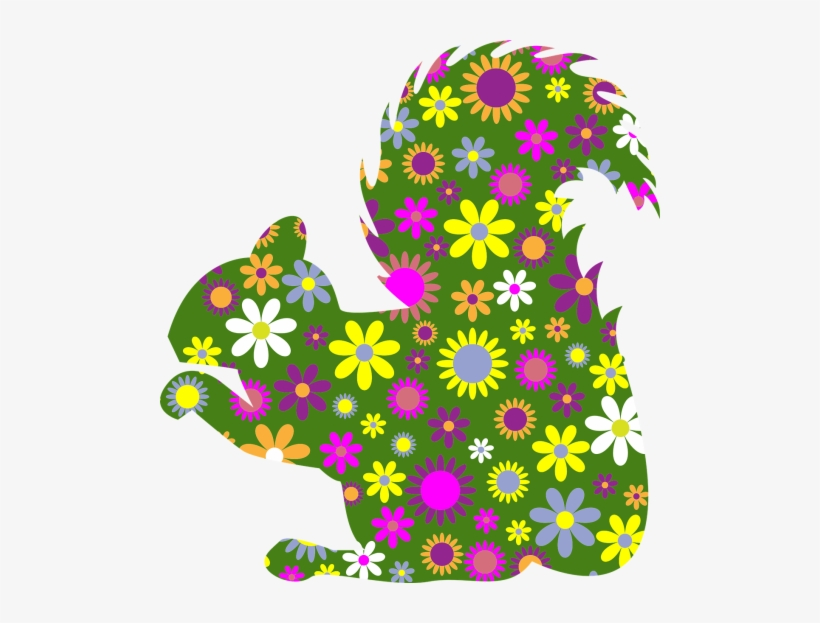 Squirrel With Flowers Clipart, transparent png #229822