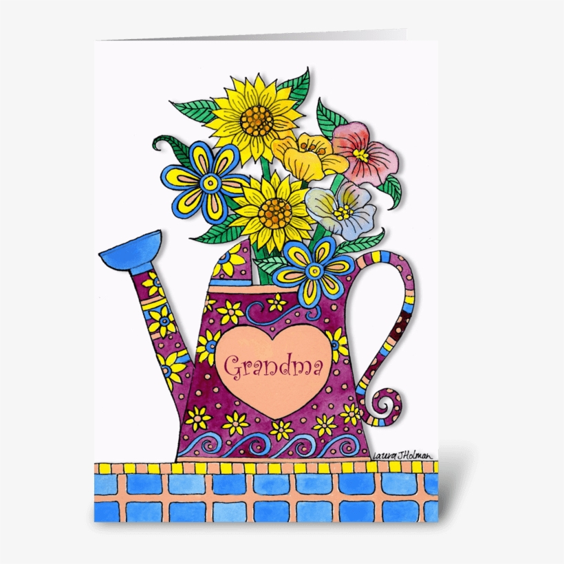 For Grandma Mother's Day Watering Can Greeting Card - Birthday Card Watering Can With Flowers, transparent png #2201742