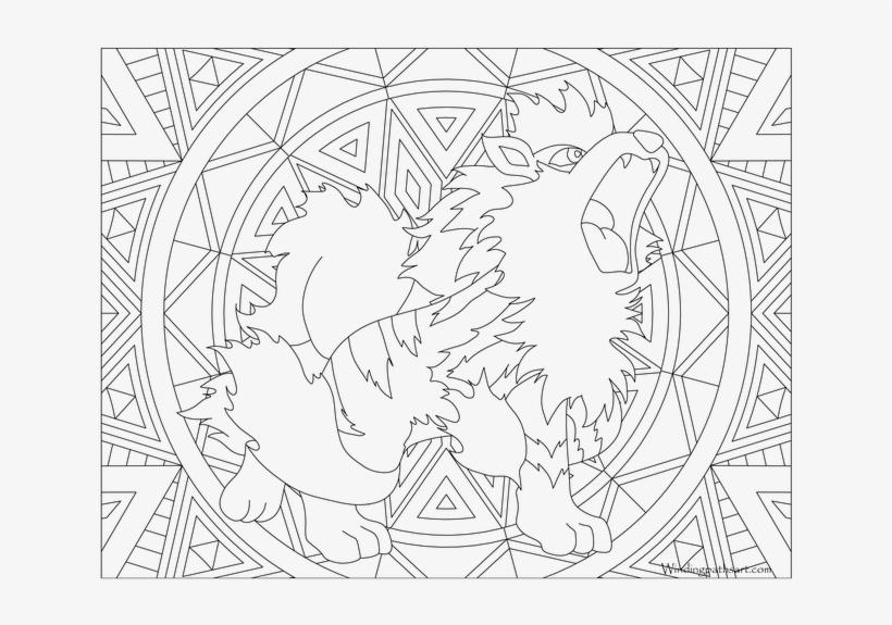 Pokemon Growlithe Coloring Pages - Mandala Pokemon Pikachu, transparent png #2213146