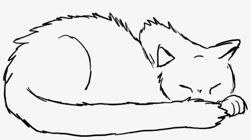 Sleeping Cat Drawing - Drawings Of Cats Sleeping, transparent png #2213636