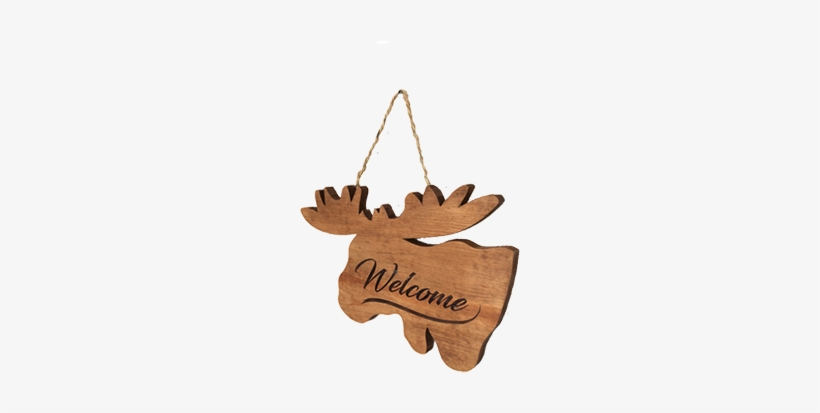"""Wall Hanged Deer With Dark """"welcome Sign"""" - Christmas Ornament, transparent png #2216670"""