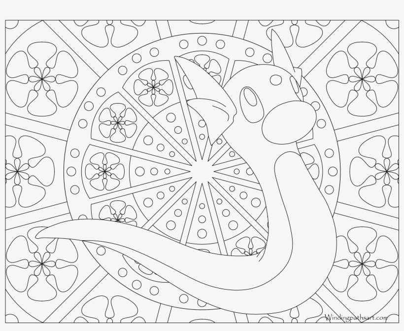Dratini Mandala Coloring Pages Pokemon Mew Free Transparent