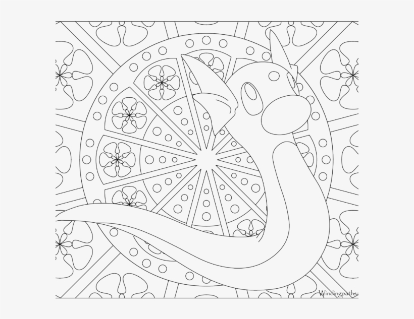 Adult Pokemon Coloring Page Dratini - Pokemon Adult Coloring Pages, transparent png #2223920