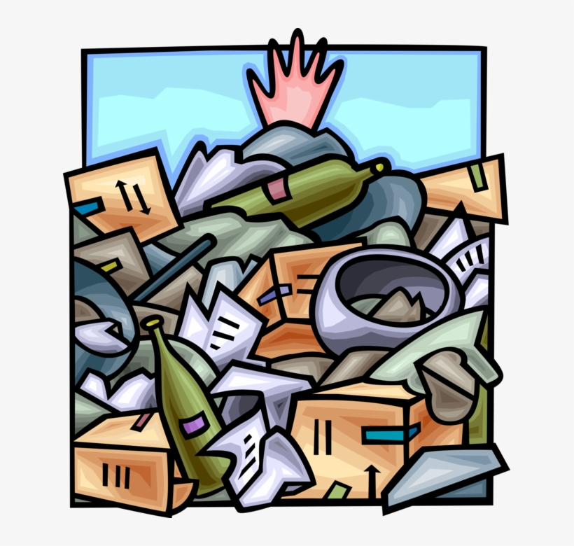 Vector Illustration Of Hand Buried Under Waste Dump - Environmentally Sound Management, transparent png #2226315