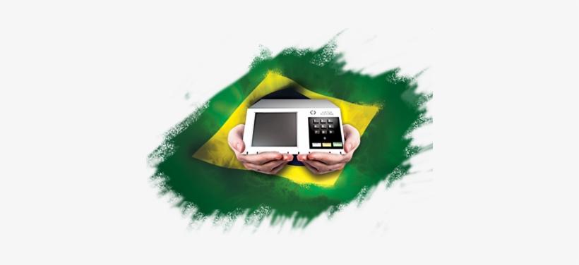 Maos Segurando Urna Eletronica Com Bandeira Do Brasil Bandeira