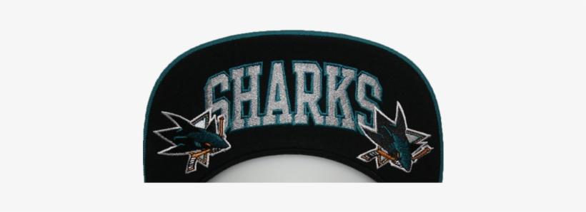 San Jose Sharks Black & White Logo Snapback Hat - Band San Jose