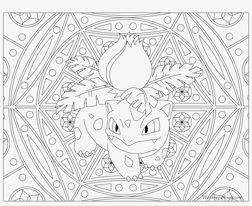 #002 Ivysaur Pokemon Coloring Page - Pokemon Coloring Pages For Adults, transparent png #2239960