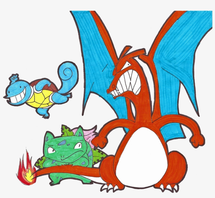 Squirtle Ivysaur Charizard By Klashkrool On Deviantart - Charizard And Squirtle, transparent png #2240116