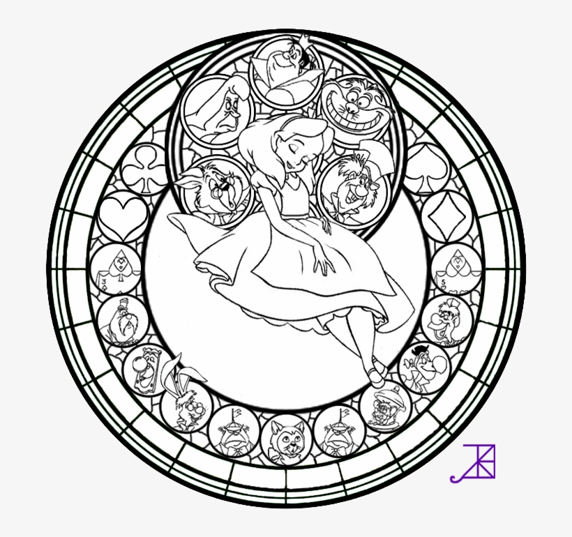 alice stained glass line art by akili