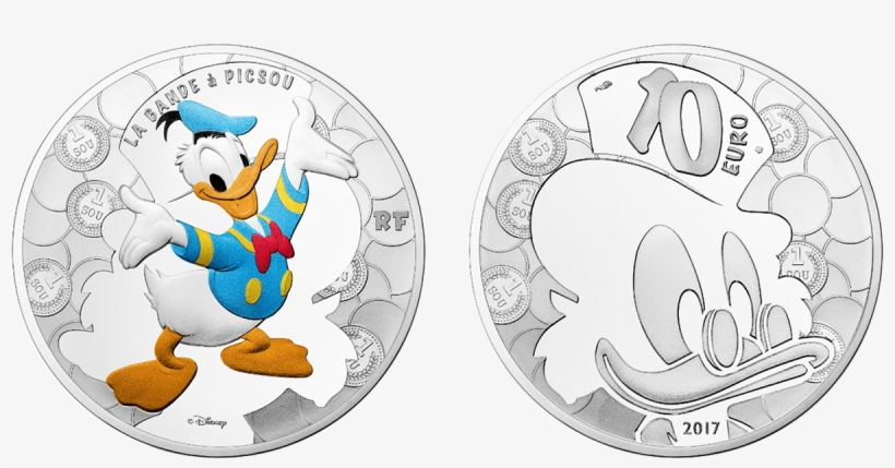 €10, Silver The Obverse Of This Colorised Silver Coin - Donald Duck Coin Monnaie, transparent png #2250204