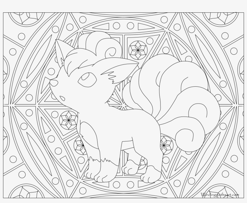 #037 Vulpix Pokemon Coloring Page - Adult Pokemon Coloring Page, transparent png #2256022