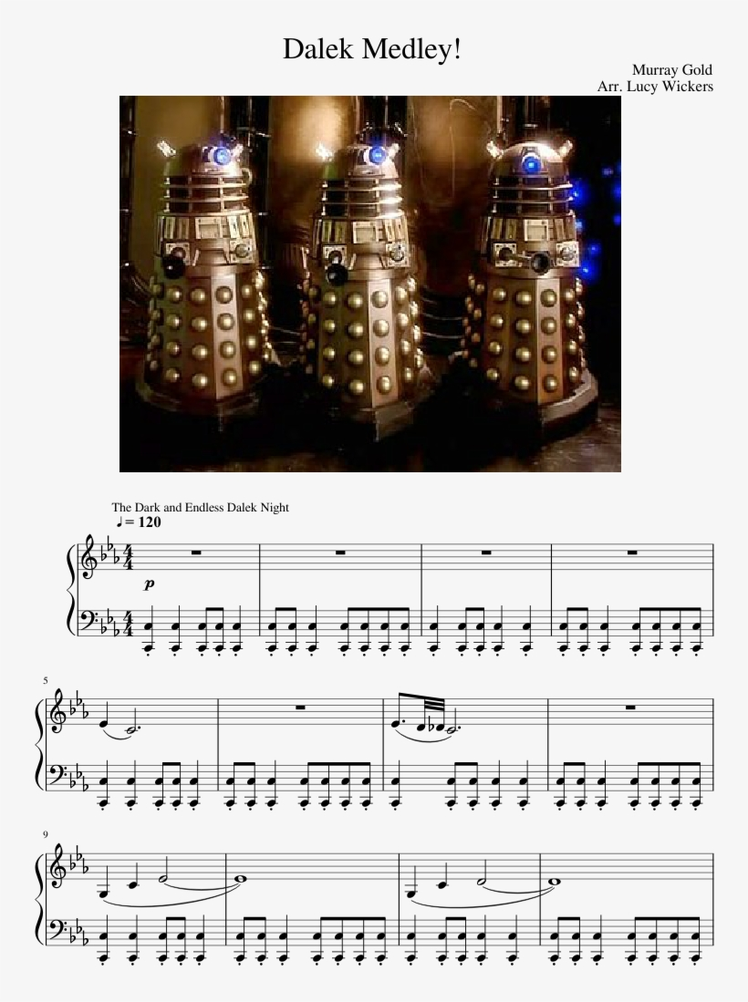 Dalek Medley Sheet Music Composed By Murray Gold 1 - Dark And Endless Dalek Night Piano Sheet Music, transparent png #2259091