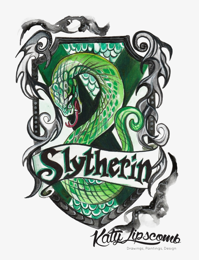 Slytherin Png Hd Photo - Harry Potter Drawing House Crests, transparent png #2269415