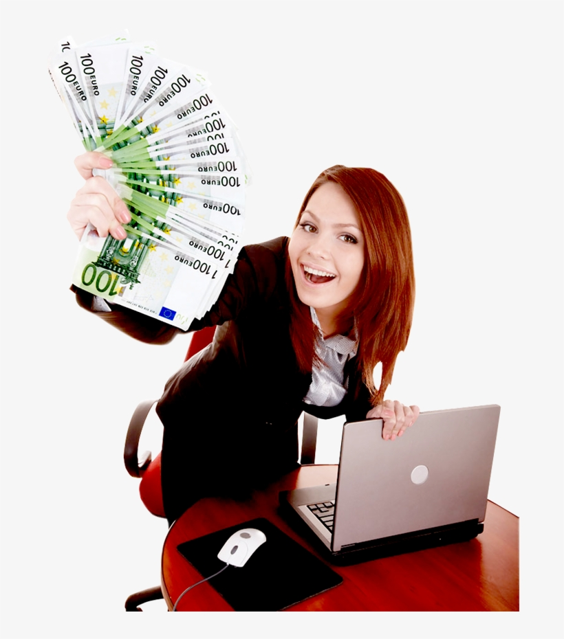 Happy Business Woman Showing The Money - Business Woman Money Png, transparent png #2271984