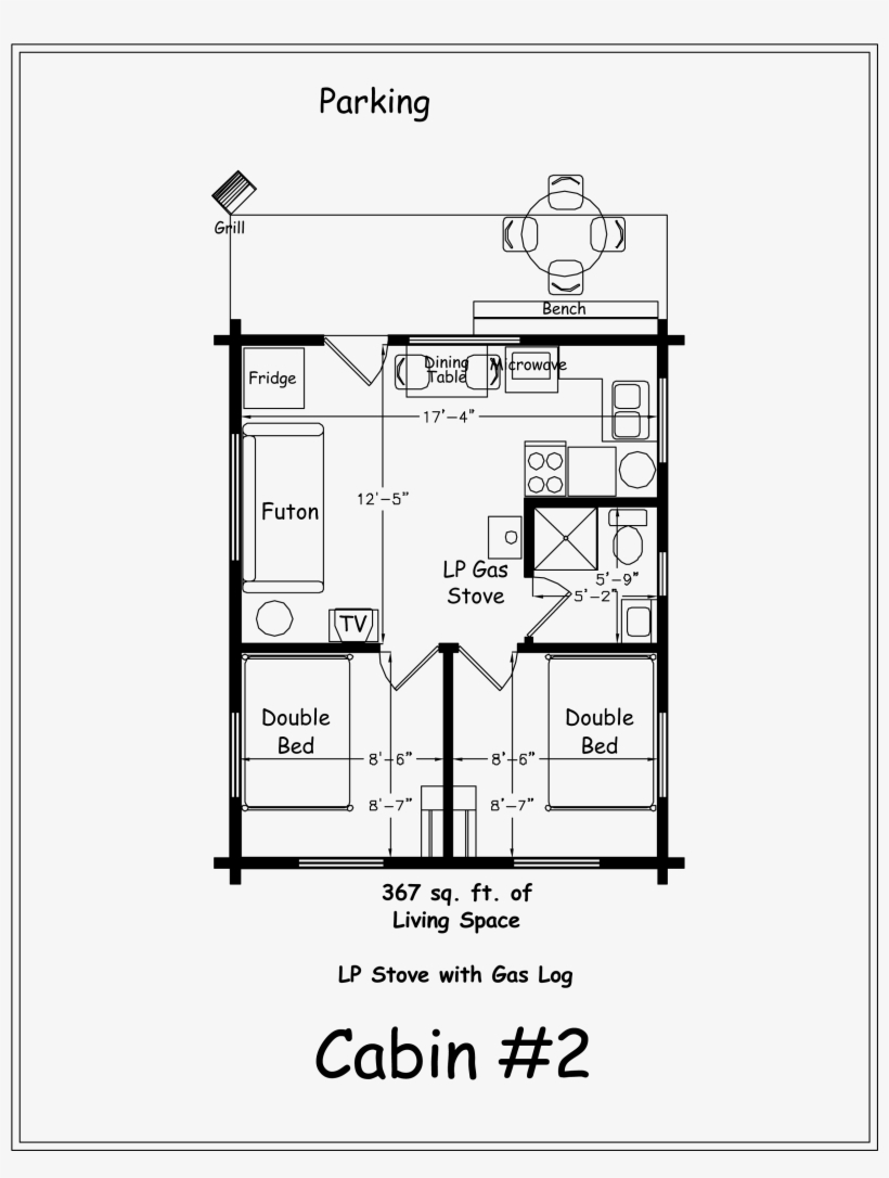 Both Bedrooms Have Double Lodge Pole Beds 2 Bedroom Cabin Floor Plans Free Transparent Png Download Pngkey