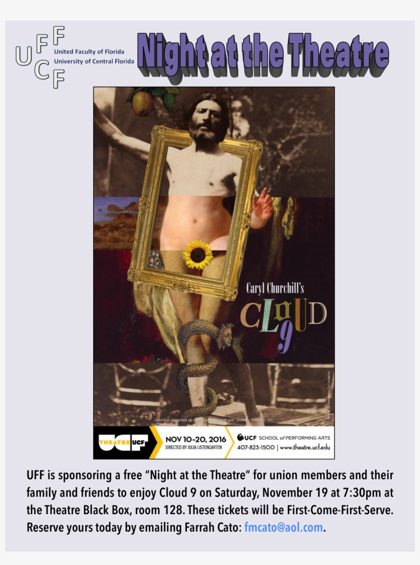 """Theatre Ucf Will Perform """"cloud 9"""" By Caryl Churchill - University Of Central Florida, transparent png #2290757"""