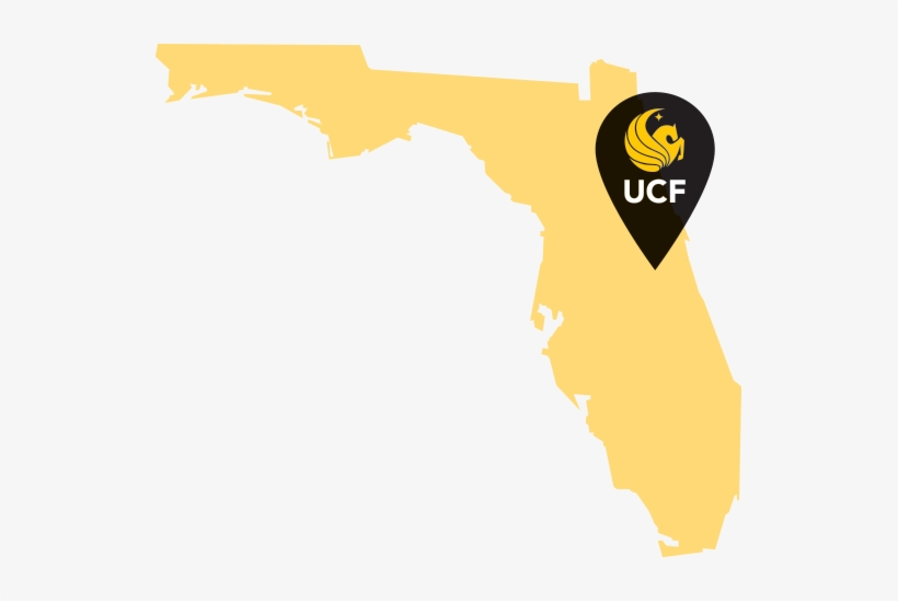 Image Of Florida With Marker Where Ucf Is Located - Ucf Location In Florida, transparent png #2290889