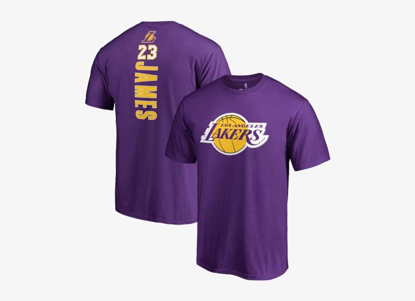 Los Angeles Lakers Lebron James Backer Name & Number - Lebron Lakers T Shirt, transparent png #2292256
