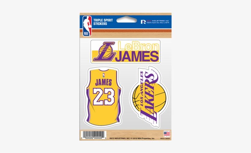 Los Angeles Lakers Lebron James Triple Sticker - Lakers Sticker, transparent png #2292393