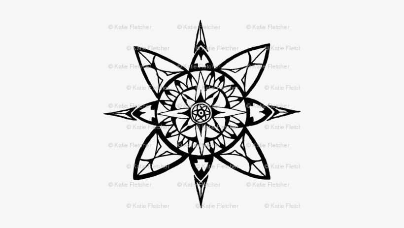 Compass Rose Back - Circle Coloring Pages For Adults, transparent png #232537