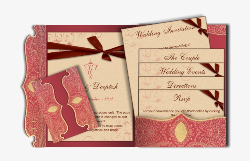 Traditional Indian Email Wedding Card Red Gold Peach - Wedding Invitation, transparent png #232560