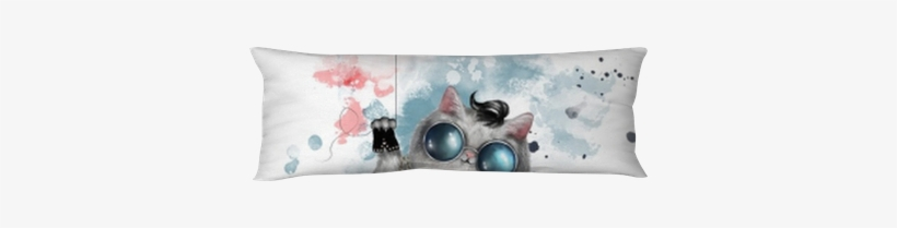 Illustration Of A Cute Cat In Rocker Style, With Round - Watercolor Painting, transparent png #233641