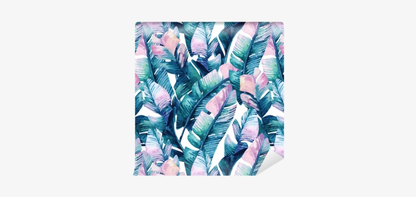 Watercolor Banana Leaf Seamless Pattern - Watercolor Painting, transparent png #234983
