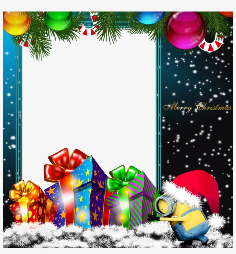Graphic Library Stock Merry Png Minion Photo Frame - Merry Christmas Frames And Borders, transparent png #235511