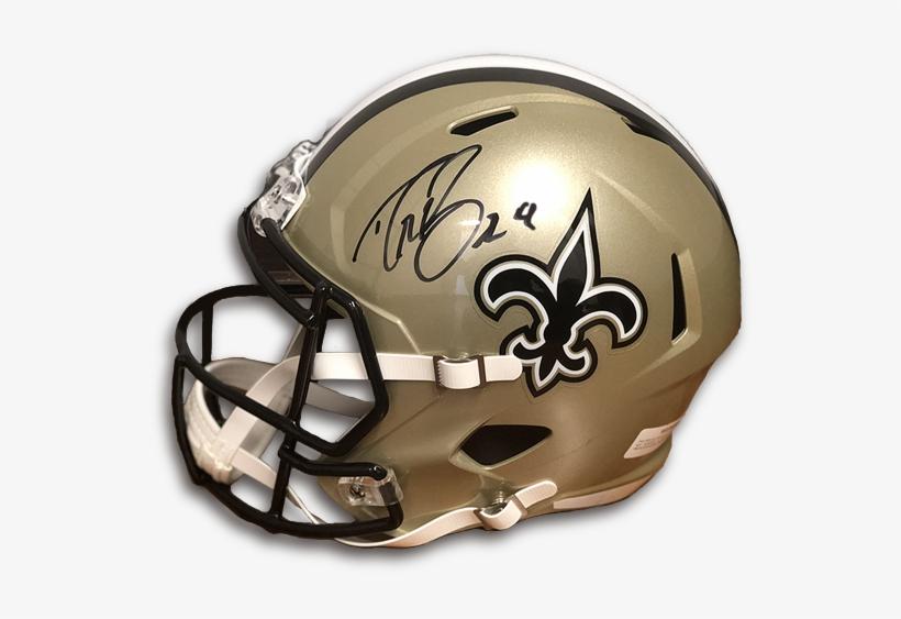 Drew Brees Autographed Helmet - 1976-99 Throwback Pro Line Helmet - New Orleans Saints, transparent png #2305003