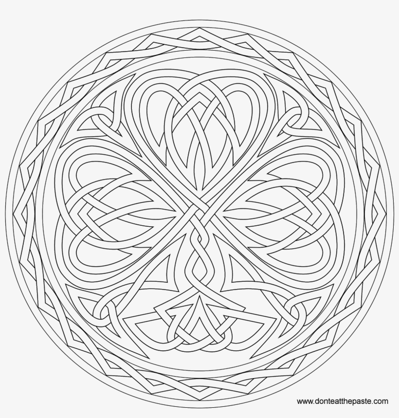 Shamrock Knotwork Coloring Page - Celtic Clover Adult Coloring Pages, transparent png #2307344