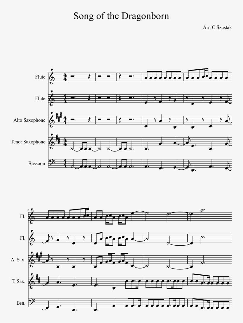 Song Of The Dragonborn Sheet Music Composed By Arr - Birds Of Tokyo Lanterns Piano Sheet Music Free, transparent png #2311322