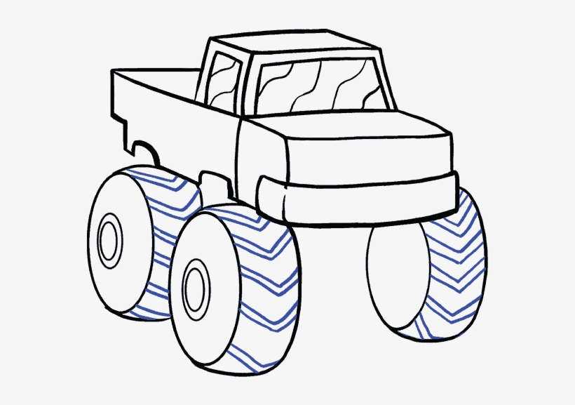 How To Draw Monster Truck - Truck Drawing Easy Step By Step, transparent png #2319012