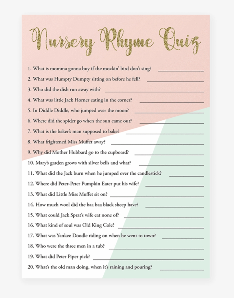 Printable Nursery Rhyme Quiz For Baby Shower By Littlesizzle