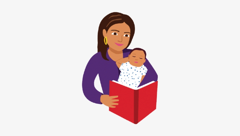 Baby Vector Reading - Mom And Baby Reading Book Cartoon, transparent png #2331476