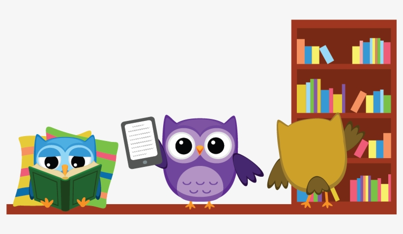 Bookshelf With Owls - Owl Reading - Free Transparent PNG Download - PNGkey