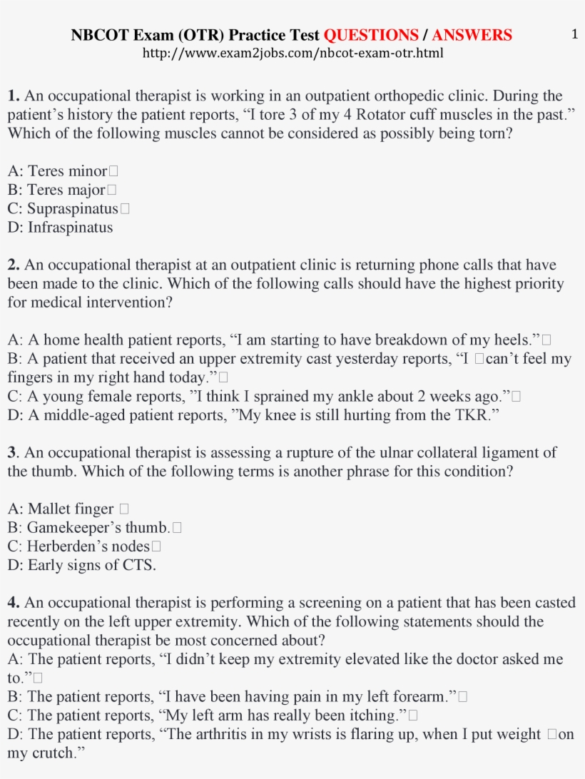 Nbcot Exam Practice Test Questions / Answers Page - Test