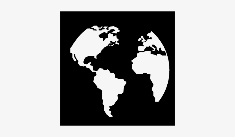 Earth Circular Continents Shape In A Square Vector - World Map Icon White Png, transparent png #2340081
