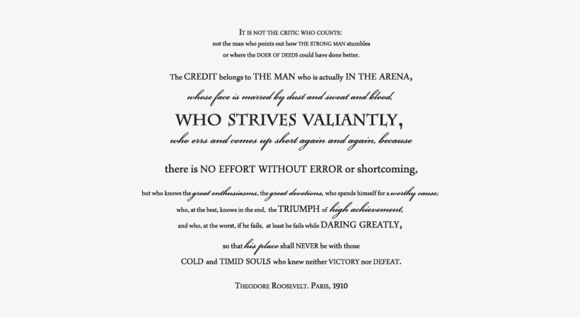 photo relating to The Man in the Arena Printable identify Theodore Roosevelts Gentleman Within just The Arena Wall Estimates Decal