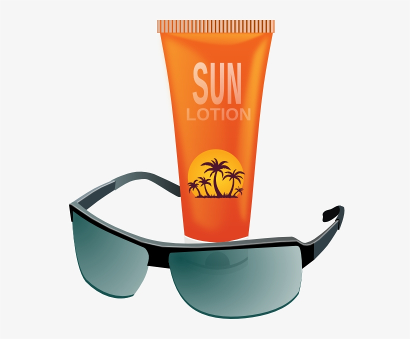 Sunglasses With Sun Tan Lotion Clip Art At Clker - Sun Glasses And Sun Screen, transparent png #2351718