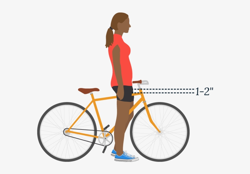 A Person Presenting As Female Stands Over A Bike - Bike Locked To Pole U Lock, transparent png #2369180