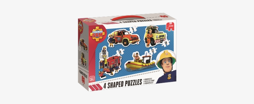 4 Shaped Puzzles - Jumbo Games Fireman Sam 4-in-1 Shaped Jigsaw Puzzles, transparent png #2378468